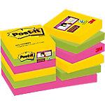 Notas adhesivas Post it 48 x 48 mm amarillo, verde neón, rosa fucsia 12 unidades de 90 hojas