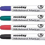 Marcador de pizarra blanca Niceday WCM1 5 punta biselada 5 mm colores surtidos 4 unidades