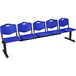 Banco recepción 5 asientos azul