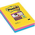 Notas adhesivas Post it 101 x 152 mm amarillo neón, rosa fucsia, azul mediterráneo 3 unidades de 90 hojas