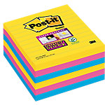 Notas adhesivas Post it 101 x 101 mm amarillo neón, rosa fucsia, azul mediterráneo 6 unidades de 90 hojas