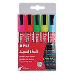 Rotulador de tiza borrable APLI Liquid Chalk punta redonda colores surtidos 5 unidades