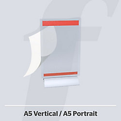 Expositor sobremesa PosterFix 2 caras rojo A5 Vertical metacrilato transparente