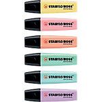 Marcador fluorescente STABILO BOSS Original Pastel punta biselada colores surtidos 6 unidades