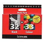 Cartucho de tinta Lexmark Original 32+33 Negro & 3 Colores 80D2951 2 unidades