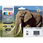 Cartucho de tinta Epson original 24 negro, cian, cian claro, magenta claro, magenta, amarillo c13t24284011 6 unidades