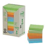 Notas adhesivas recicladas Post it 51 x 38 mm verde, verde claro, naranja, mandarina, azul, azul claro 24 unidades de 100 hojas