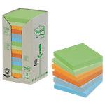 Notas adhesivas recicladas Post it 76 x 76 mm verde, verde claro, naranja, mandarina, azul, azul claro 16 unidades de 100 hojas