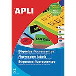 Etiqueta adhesiva APLI verde fluorescente 20 hojas de 1 etiqueta