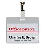 Badges à clip Office Depot avec Clip Horizontal 90 x 60 mm   50 Unités
