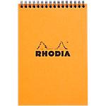 Bloc de bureau Rhodia A5 Tuyau spirale double Orange Socle cartonné ultra rigide Quadrillé 80 Pages   80 Feuilles