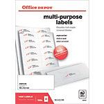 Étiquettes multifonctions Office Depot Coins droits 105 x 42,3 mm Blanc 105 x 42,3 mm 100 Feuilles de 14 Étiquettes