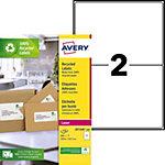 Étiquettes adresses Avery LR7168 100 Blanc 199,6 x 143,5 mm 100 Feuilles de 2 Étiquettes