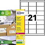 Étiquettes d'adresses Avery LR7160 100 Blanc 63,5 x 38,1 mm 100 Feuilles de 21 Étiquettes