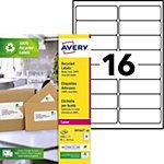 Étiquettes d'adresses Avery LR7162 100 Blanc 99,1 x 33,9 mm 100 Feuilles de 16 Étiquettes
