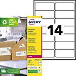 Étiquettes d'adresses Avery LR7163 100 Blanc 99,1 x 38,1 mm 100 Feuilles de 14 Étiquettes