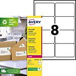 Étiquettes adresses laser recyclées AVERY Zweckform Étiquettes laser recyclées A4 Blanc 99,1 x 67,7 mm 100 Feuilles de 8 Étiquettes