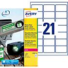 Étiquettes multifonctions Avery L7060 20 Blanc 63,5 x 38,1 mm 20 Feuilles de 21 Étiquettes