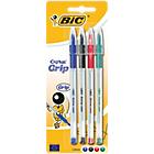 Stylo bille BIC Cristal Grip Assortiment   4 Unités