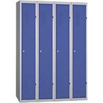 Vestiaire Industrie Propre monobloc 4 colonnes 120 (L) x 50 (l) x 180 (H) cm Bleu