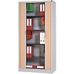 Armoire portes à rideaux  WorkPro 100 (L) x 45 (l) x 198 (H) cm Aluminium, Imitation Hêtre