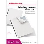Couvertures de reliures Office Depot A4 Simili cuir 200  microns Blanc   100 Unités