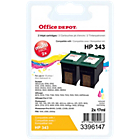 Cartouche jet d'encre Office Depot Compatible HP 343 Cyan, Magenta, Jaune CB332EE 2 Unités