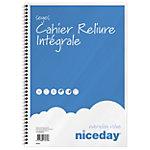 Cahier grands carreaux reliure intégrale Niceday A4 Bleu et blanc 100 Pages   5 Unités de 50 Feuilles