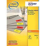 Étiquettes copieurs Avery DP24J 100 Jaune flo 35 x 70 mm 100 Feuilles de 24 Étiquettes