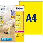 Étiquettes fluorescentes Avery L6006 20 Jaune fluo 210 x 297 mm 20 Feuilles de 1 Étiquettes