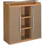 Armoire mi haute Gautier Office Sliver 119 (L) x 45 (P) x 125 (H) cm Imitation noyer, bronze