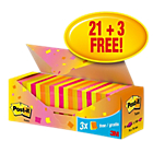 Notes repositionnables Post it 76 x 76 mm Assortiment   24 Unités de 100 Feuilles