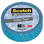 Adhésif décoratif Scotch Expression 15 mm x 5 m Bleu pailleté