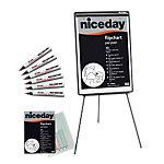 Kit essentiel chevalet : 1 chevalet + 5 recharges papier + 6 marqueurs Niceday 70 (L) x 100 (l) cm