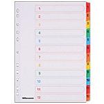 Intercalaires numériques Office Depot A4 Blanc 12 intercalaires Perforé Carton blanc avec onglet coloré renforcé (Mylar) 1 à 12