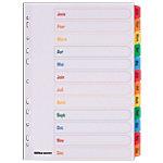 Intercalaires Office Depot A4 Blanc 12 intercalaires Perforé Carton blanc avec onglet coloré renforcé (Mylar) Jan   Dec