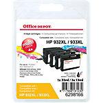 Cartouche jet d'encre Office Depot Compatible HP 932XL, 933XL Noir, cyan, magenta, jaune C2P42AE 4 Unités