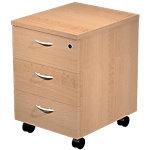 Caisson mobile 3 tiroirs Quadra 43 (L) x 52 (P) x 60 (H) cm Imitation hêtre
