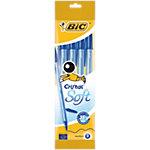 Stylo bille avec capuchon BIC Cristal Soft 0.4 mm Bleu   4 Unités