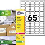 Étiquettes adresses recyclées Avery Blanc 38,1 x 21,2 mm 100 Feuilles de 65 Étiquettes