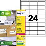 Étiquettes adresses recyclées Avery Blanc 63,5 x 33,9 mm 100 Feuilles de 24 Étiquettes