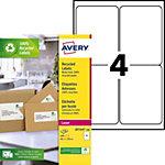 Étiquettes adresses recyclées Avery Blanc 139 x 99,1 mm 100 Feuilles de 4 Étiquettes