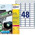 Étiquettes ultra résistantes Avery  L4778 20  Blanc 21,2 x 45,7 mm 48 Feuilles de 20 Étiquettes