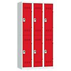 Vestiaires Multicases 3 colonnes 900 x 500 x 1800 mm Gris, rouge