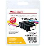Cartouche jet d'encre Office Depot Compatible HP 950XL, 951XL Noir, cyan, magenta, jaune C2P43AE 4 Unités