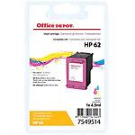 Cartouche jet d'encre Office Depot Compatible HP 62 Cyan, Magenta, Jaune C2P06AE