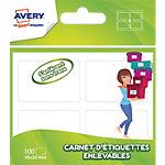 Étiquettes Avery Enlevables Blanc 100 étiquettes