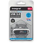 Clé USB cryptée Integral Courier Dual FIPS 64 Go Noir, Argenté