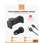 Pack chargeur USB + support voiture T'nB Universel USB
