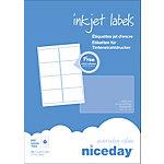Étiquettes d'adresses Niceday Blanc 800 étiquettes 100 feuilles de 8 étiquettes
